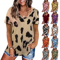 Women T Shirt Print Loose Short Sleeve V Neck Casual Summer Female Sexy Home Party Event Top LX