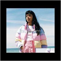Womens Down Parkas Cute Kawaii Lolita Sweet Vintage 90S Lazy Oaf Aron Rainbow Colors Warm Coat Women Winter Jackets Short Coats Qtfqf P8W3X