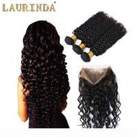 Preucked 360 кружевной лобковый закрытие с 3 пучками 8А бразильская вьющиеся волна девственницы человеческие волосы плетение с полным кружевной полосой фронтальной
