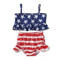 2021 Sommar Baby Girls Star Strip Swimwear Casual Barnens Utomhus Strand Bikinis Badkläder Barn Tvådelat Top + Kjolar Baddräkt Sportkläder G82D9HW