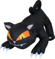 Custom made outdoor large Animated decoration inflatable Halloween black cat Rotating head with LED light