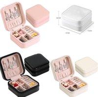 Caja de almacenamiento caja de joyas de viaje organizador PU Pantalla de cuero Mostrar caja Collar Pendientes Pendientes Anillos Titular de joyería Caja de regalo Cajas 4 Colores