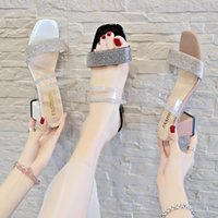 Slippers Summer Crystal Women Female Transparent Slides Square High Heels Peep Toe Sandals Beach Casual Shoes Woman