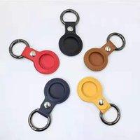 Funda protectora de cuero para manzana Airtags Etiquetas de aire Bluetooth Rastreador inalámbrico Lleve protector anti-perdido Shell con gancho