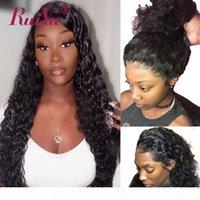 Perruque frontale en dentelle 360 platefeulée d'une onde profonde 150% 180% Densité Malaisienne Remy Remy Dentelle Front Human Hair Perruques pour femmes noires Ruiyu