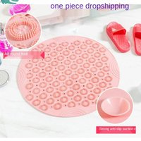 Bath Mats Textured Round Shower Bathroom Mat Anti-Slip With Drain Hole Massage In Middle For Stall Floor