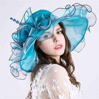 여성 우아한 꽃 Organza 모자 Foldable 평면 프릴 와이드 브림 모자 거즈 켄터키 더비 모자 접는 태양 모자 티 파티 교회 웨딩 캡