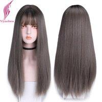 Parrucche sintetiche Yiyaobess 28inch Long Dritto Parrucca con Bangs Biancheria stile coreano Biancheria grigia Brown Brown Ombre Capelli naturali per le donne