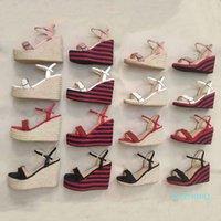 2021 дизайнерский клин Sandal женская кожаная платформа ESPADRILLE 8-13CM высокие каблуки регулируемые лодыжки ремешка сандалии летняя вечеринка свадебные ботинки