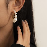 C-shaped Imitation Pearl Stud Earrings Retro Business Women No Hole Ear Cuff European Alloy Party Gift Gold Earring Jewelry Sets Accessories Wholesale