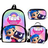 حقائب مدرسية Buleflyer الكرتون TRUE و Rainbow المملكة 3 قطعة / المجموعة للمراهقين حقيبة الظهر لوازم الكتب