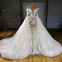Luxury Illusion Overskirts Wedding Dresses Full Sleeves Sexy See Through Pearls Appliques Bridal Gowns Sheer Neck vestido de novi