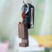 Doğal Ceviz Anahtarlık Kolye Taşınabilir Yaratıcı Kayın Ahşap Braketi Anahtarlıklar Araba Dekorasyon Anahtarlık DIY Hediye EWF8303