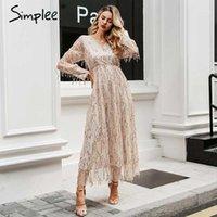 Simplee Sexy V-Ausschnitt Abend Frauen Maxi Kleid Elegante Mesh Langarm Sequin Nachtkleid Herbst Lady Plus Size Party1