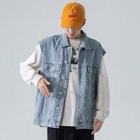Men's Vests Colete masculino estilo safari, roupa de cowboy com bolso multiuso, lavado YHQX