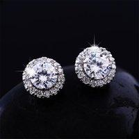 New Arrival 18K White Gold Plated Earings Big Diamond Earrings for Women White Zircon Earrings