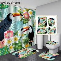 In Stock Designer Bird Flower Shower Curtain 4pcs Bathroom Rug Set Animal and Plants 3D Print Bath Mat Anti Slip Toilet Carpet for Home Decor Drop Ship Wholesale