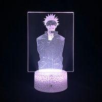 طفل 3d بقيادة مصباح الصورة ضوء الليل أنيمي usb التطبيق السيطرة jujutsu kaisen gojo satoru الشكل nightlight الغلاف الجوي بارد الاطفال هدية
