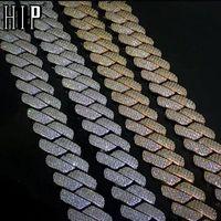 Link, cadeia hip hop 19mm 3 fileira pesado cubano príbido bling caixinha de cobre de caixinha de cobre + bracelete de zircônia cúbica para homens jóias