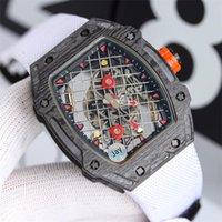ZY Men's Watch RM27-04 مجهزة بالحركة الميكانيكية التلقائي تصميم جوفاء تصميم شبكة الصلب كابل الاتصال الهاتفي برميل حالة الشريط المطاطي وظيفة للماء