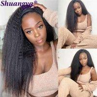 wigs Kinky Straight Headband Prune Human hair 100% Remy For Black Women 180 Density Brazilian Yaki wigs