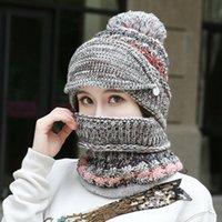 Hats, Scarves & Gloves Sets Fashion Womens Ladies Woollen Knitted Thicken Beanie Hat Scarf Winter Warm Snow Ski Set Black Beige Gray Pink