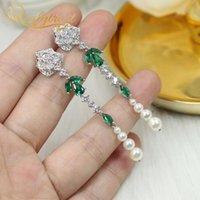 Reaytrust Luxury Rose Flower Pearl Tassel Orecchini per le donne 925 Argento Camelia Emerald Drop Gioielli da sposa gioielli ciondola lampadario