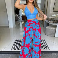 Women's Two Piece Pants Sexy V-Neck Sling Solid Tops And Printed Wide Leg Pant Suits Lady Fashion Casual Holiday Beach Outfits 2021 Women Se