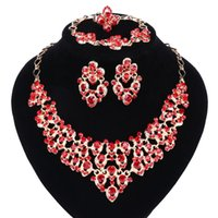 Top Exquisite Dubai Gold Colors Crystal Embedded Scarf Pattern Necklace Bracelet Earring Ring African Beads Jewelry Set