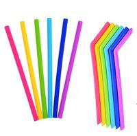 다채로운 식품 학년 유연한 실리콘 빨대 스트레이트 구부러진 곡선 짚 마시는 재사용 막대 도구 음료 NHF6361