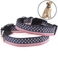 New Fashion Nylon Dog Collar American Flag Printing Necklace for Medium and Large Dog Adjustable Pet Collar Accessories