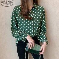 Sonbahar 2021 Yeni Kadın Uzun Kollu Gömlek Moda Polka Dot Şifon Gömlek Bayan Üstleri Ve Bluzlar Rahat Hırka Giyim 104301
