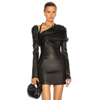 Elbise SWTAO kadın Gevşek Uzun Kollu Siyah Deri Elbise, Ünlü Akşam LV3C
