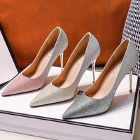 Dress Shoes 2021 Gradient Color Sequins Bridal Woman Heels Wedding Super High Stiletto Large Size 43 Banquet Pumps