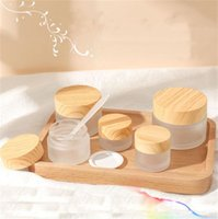 Frosted Glass Jar Face Cream Bottle Round Cosmetic Jars Container Packing Bottles 5g 10g 15g 20g 30g 50g with Imitated Wood Grain Cover