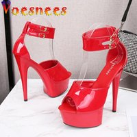 Voesnees S 2021 Summer Style Sexy 15cm Women Sandals High Heels Open Toe Buckles Nightclub Party Shoes Black Big Size 43