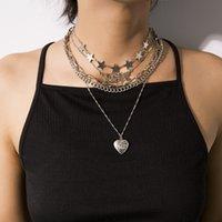 Retro Wild Open Kette Pfirsich Herz Anhänger Halsketten Mode Persönlichkeit Multi-Layer Stern Liebe Geometrische Schlüsselbein Ketten Licht Luxus Temperament Schmuck Geschenk