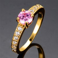 Wedding Rings Luxury Female Pink Zircon Ring Fashion Gold Silver Color Unique Style Promise Engagement For Women