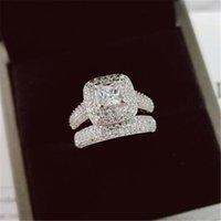 Anillos Vecalon 188PCS Topaz Diamante simulado CZ 14kt Gold White Llenado 3-en 1 Compromiso de la banda de banda de boda para mujeres SZ 5-11