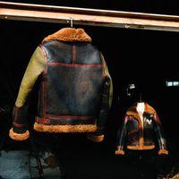 Erkek Ceketler CDB3-4 Avrupa ABD Boyutu Yüksek Kalite Süper Sıcak Hakiki Koyun Deri Ceket Erkek Büyük B3 Shearling Bombacı Merinos Kürk Ceket 17MQ