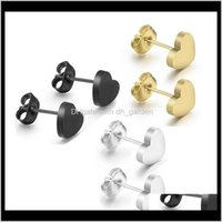 Stud Jewelry Fashion High Quality Brief Stainless Steel Heart Wholesale Electroplated Gold Black Earrings Drop Delivery 2021 Qvsei