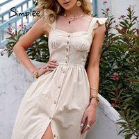 Simplee Pamuk Kolsuz Kare Boyun Kadın Elbise Maxi Yaz Spagetti Kayışı A-Line Sundress Rahat Düğme Fırfır Vestidos