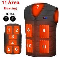 Men's Vests 11 Area Heating Vest Men Women Casual V-neck USB Heated Smart Control Temperature Jacket Cotton Coat Winter Hunting