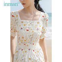 Вечеричные платья внутрь летнее платье женщины элегантные цветочные принты талия колодка дизайн цветок рукав леди один кусок