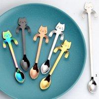 ステンレススプーンかわいい猫のぶら下げカップコーヒースプーン小さじスプーンデザートスナックスクープアイスクリームミニスプーソンズ食器OWB11383
