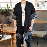 New Summer solid color Chinese style cotton and linen cardigan Hanfu mid-length windbreaker retro cloak men's thin section HotM5EE