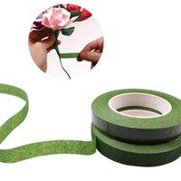 Flores decorativas guirnaldas de 30 yardas 12 mm autoadhesivo bouquet floral tallo cinta artificial estambre envoltura florista verde cintas de bricolaje