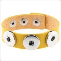 Jóias pedaço de couro punk pulseira de couro apto para botão charme braceletes intercambiáveis noosa snaps pulgles gota entrega 2021 6hh1q