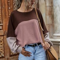 Women's T-Shirt Fashion Casual Striped Lady Sweater Stitching O Neck Pullover Jumpers Drop Shoulder Sleeve Winter Elegant Knitted Women