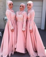 Pink Muslim Bridesmaid Dresses With Hjab Long Sleeves High Neck Saudi Arabia Dubai Wedding Guest Gowns Lace Applique 2022 Women Formal Evening Dress